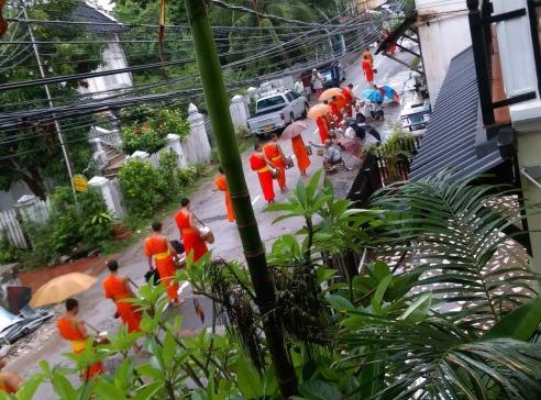 Buddhists morning walk - Laos